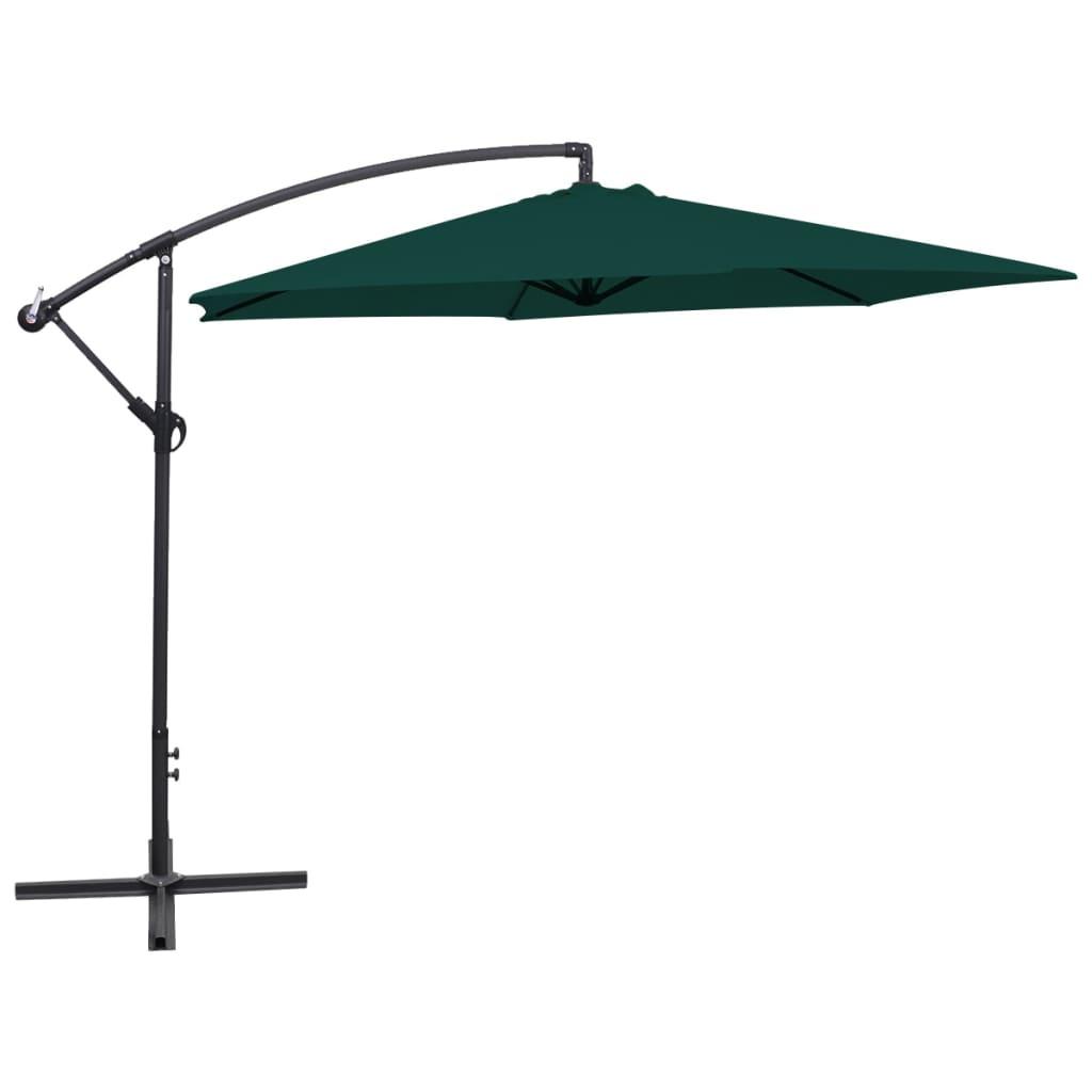 vidaXL 3 m zöld konzolos esernyő