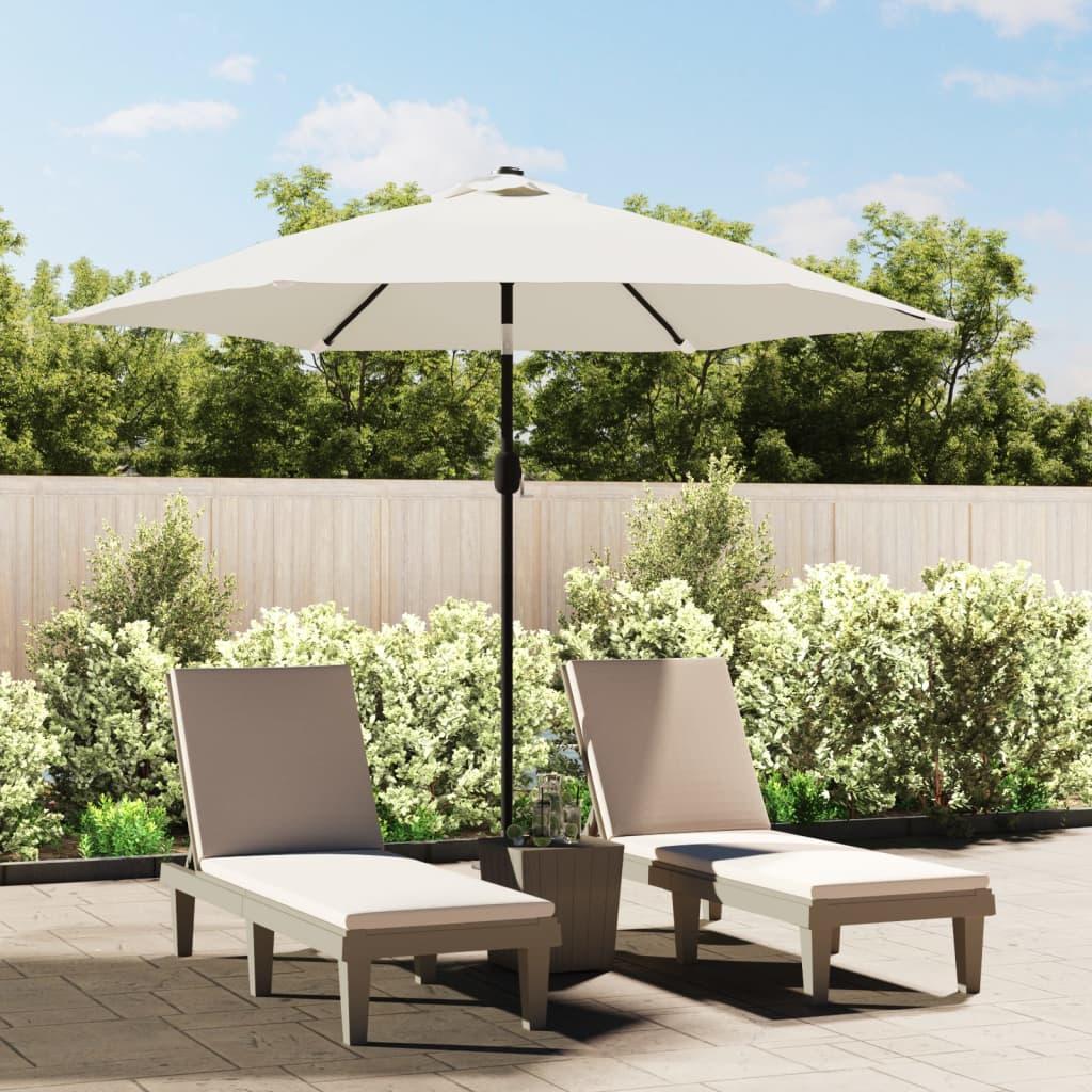 acheter vidaxl parasol en porte faux avec led 3 m blanc sable pas cher. Black Bedroom Furniture Sets. Home Design Ideas