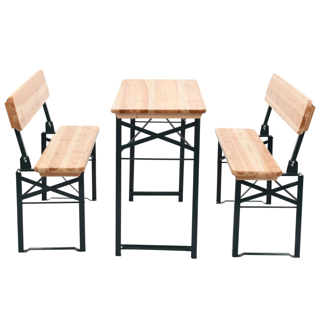 vidaxl three piece foldable beer table and bench set fir wood. Black Bedroom Furniture Sets. Home Design Ideas