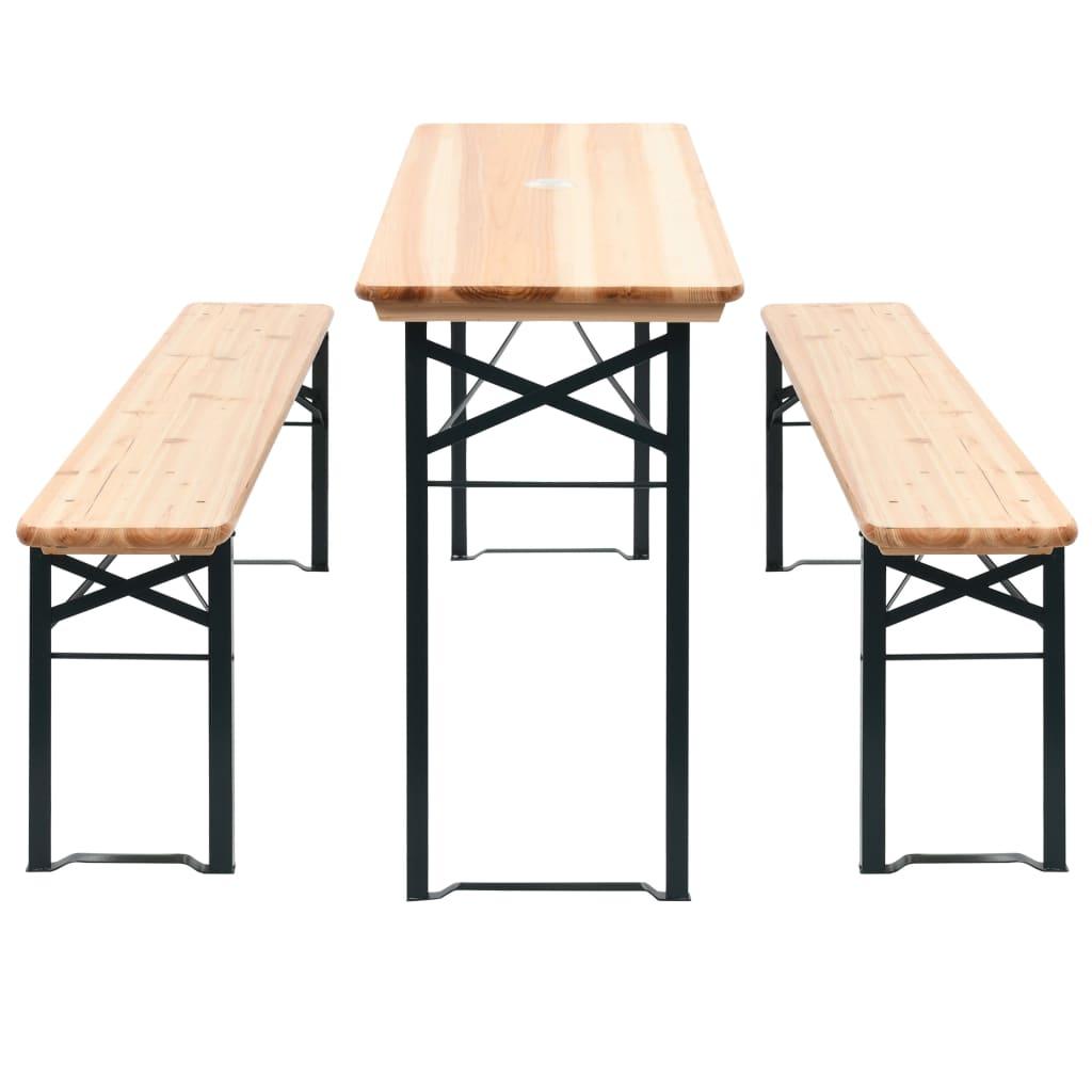 vidaXL összecsukható fenyőfa sörasztal 2 paddal 177 cm
