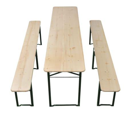vidaxl ensemble de table et banc de brasserie pliable 3 pi ces bois. Black Bedroom Furniture Sets. Home Design Ideas