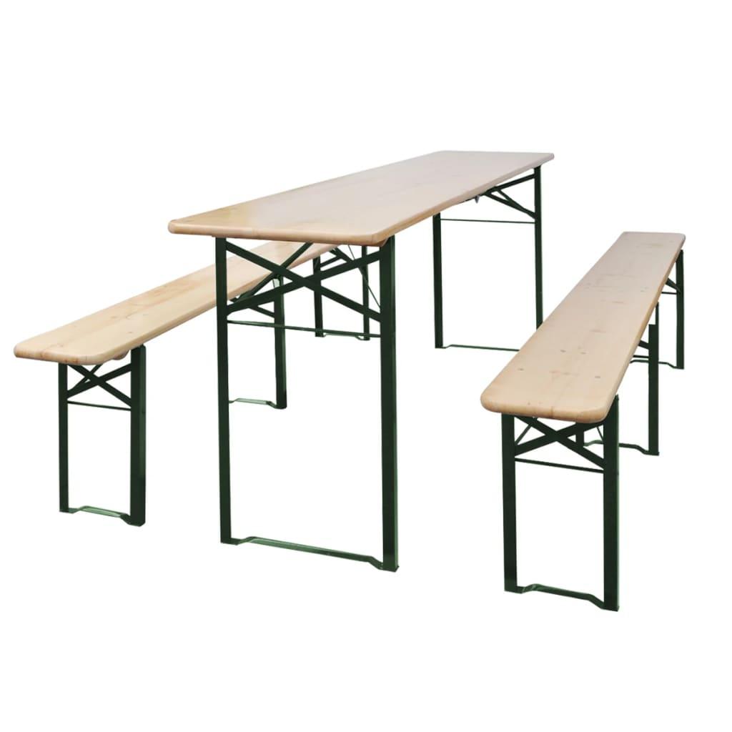 vidaXL összecsukható fenyőfa sörasztal 2 paddal 220 cm