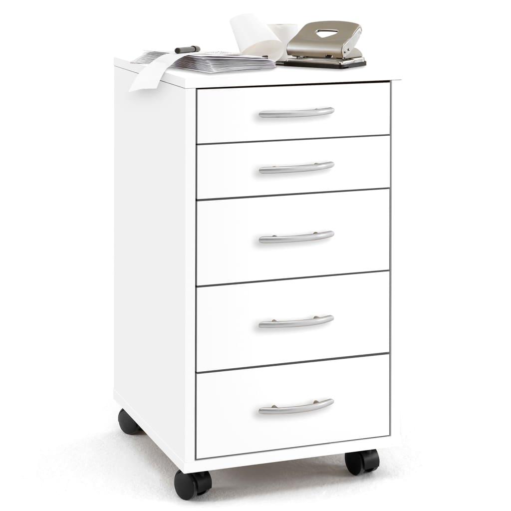 Afbeelding van FMD Ladekast met 5 lades verplaatsbaar wit 336-001