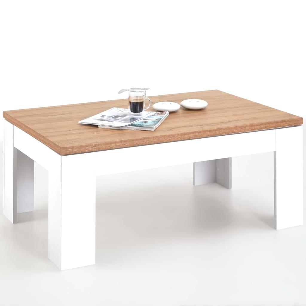 Afbeelding van FMD Salontafel 110x70x45,5 cm wit en eikenkleur 4003-007