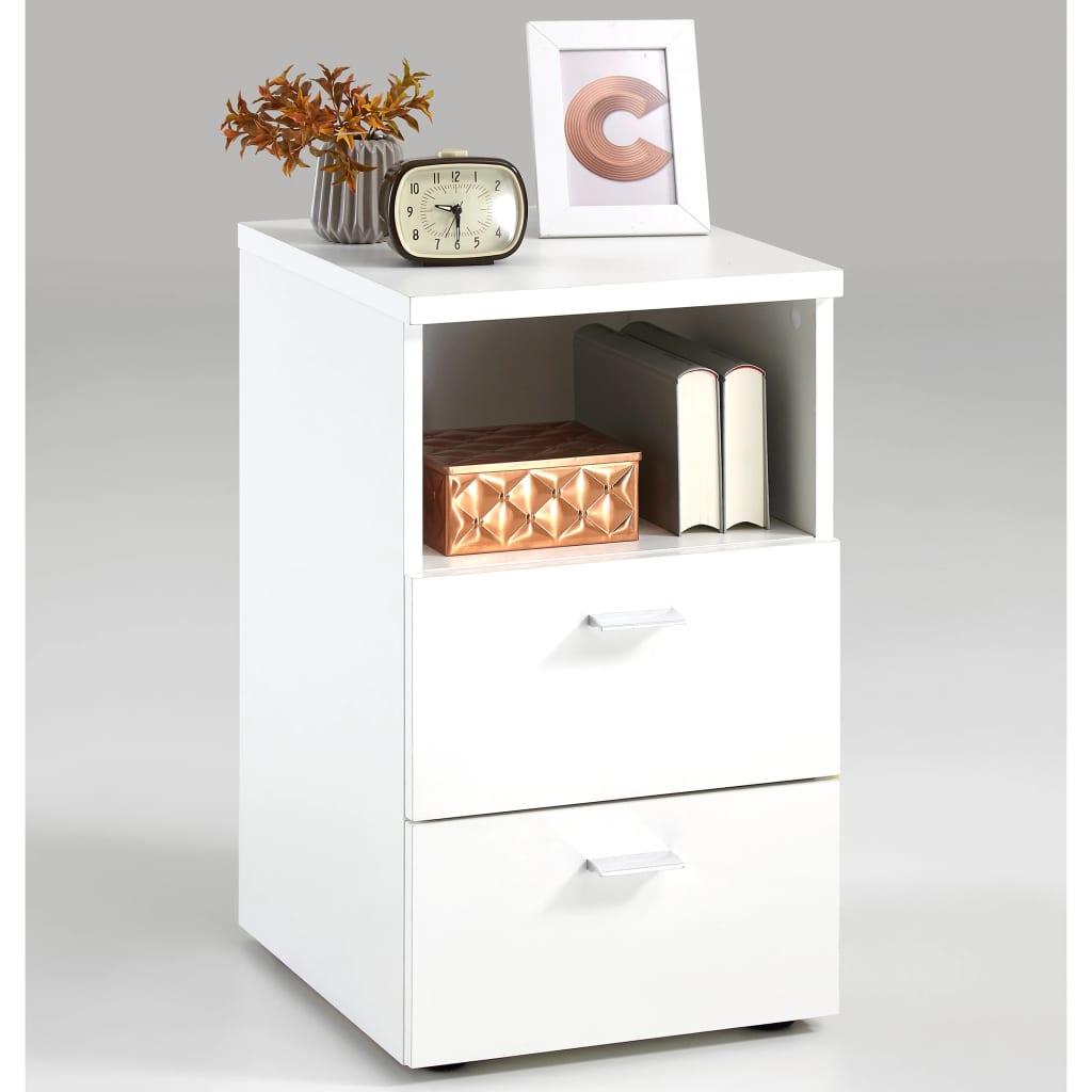 Afbeelding van FMD Nachtkastje met 2 lades en open schap wit 652-001