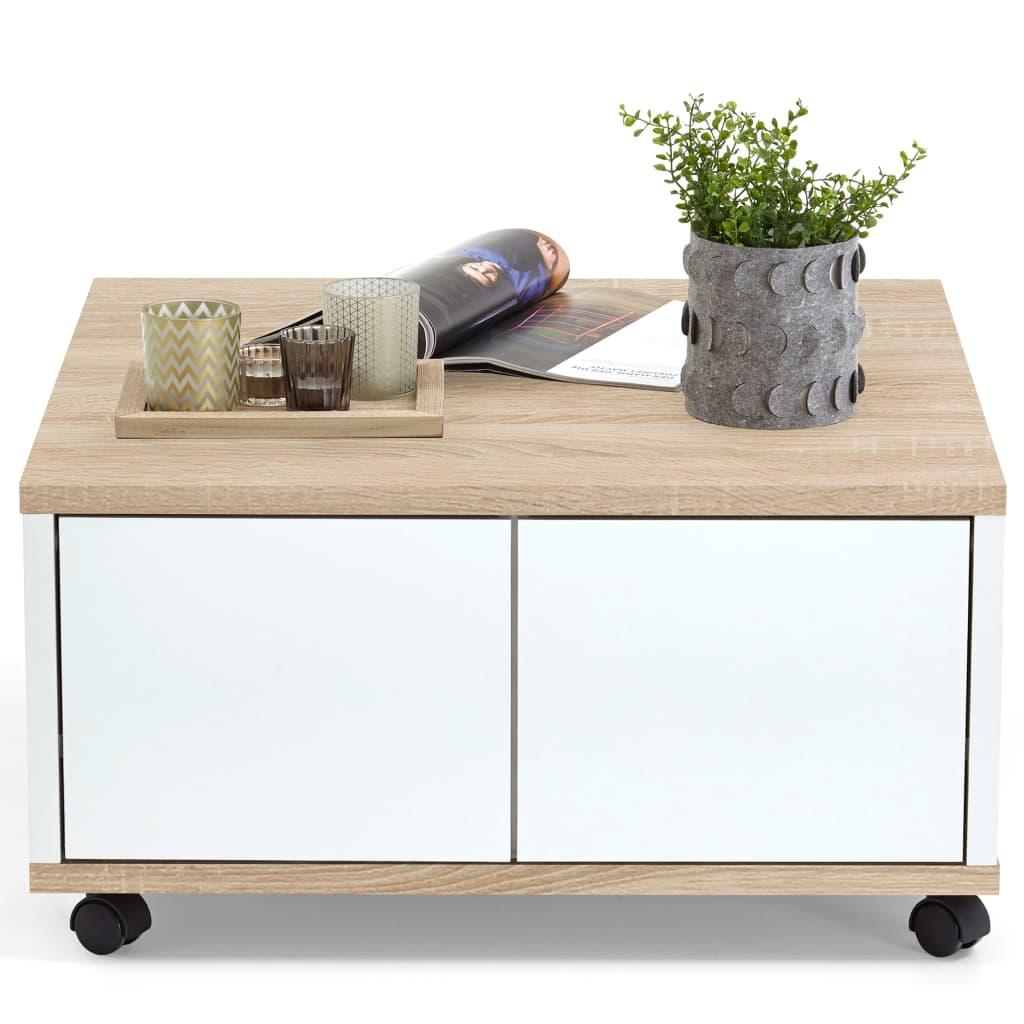 Afbeelding van FMD Salontafel verplaatsbaar 70x70x36 cm eiken en glanzend wit 659-001