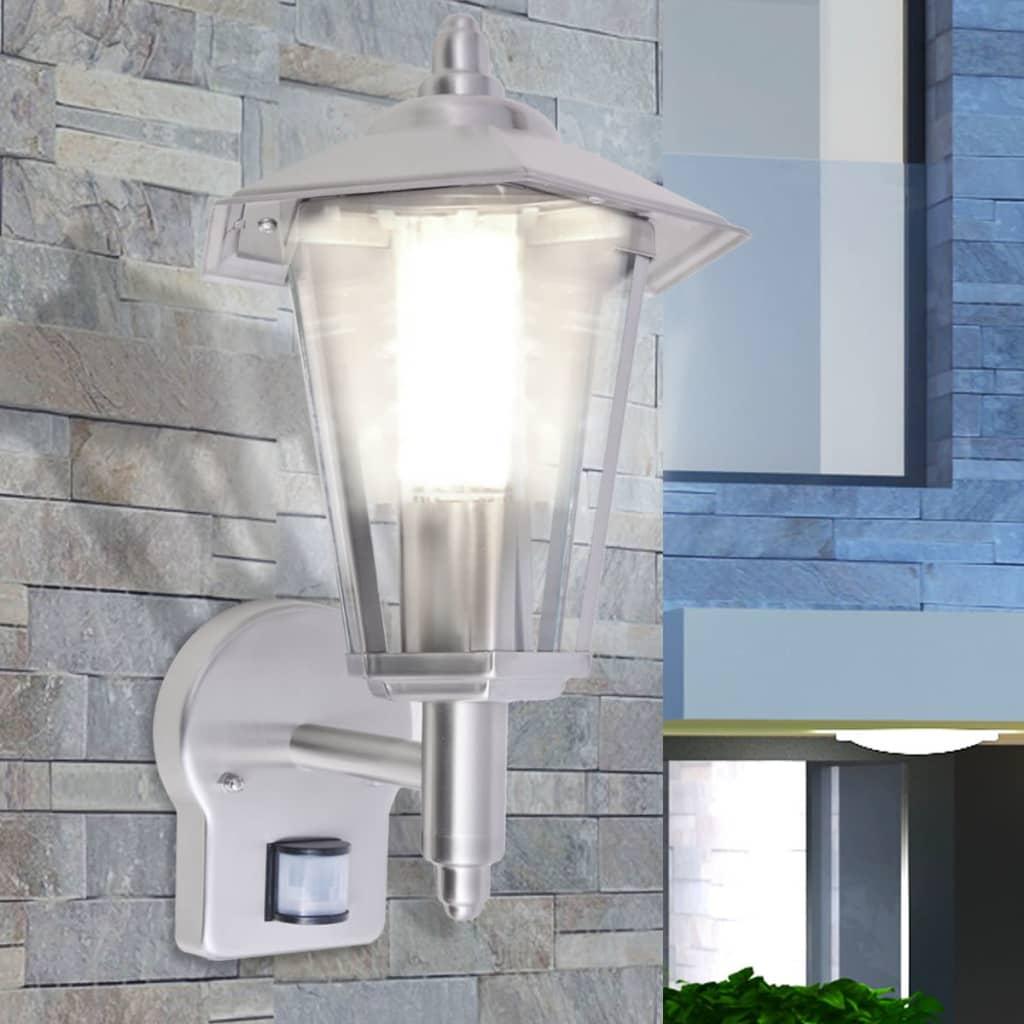 vidaXL kültéri szenzoros rozsdamentes acél fali lámpa