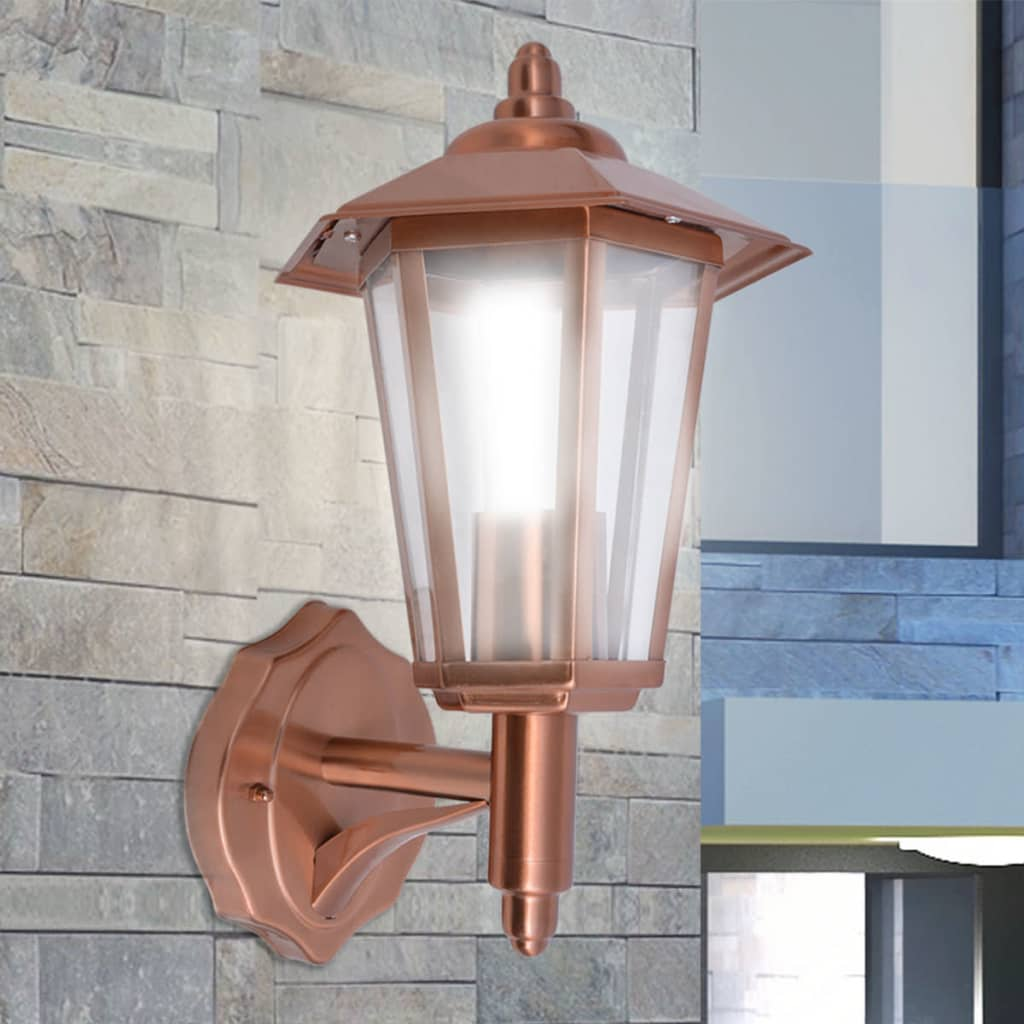 vidaXL Lanterna da Parete da Esterno Giardino in Acciaio Inox Color Rame#