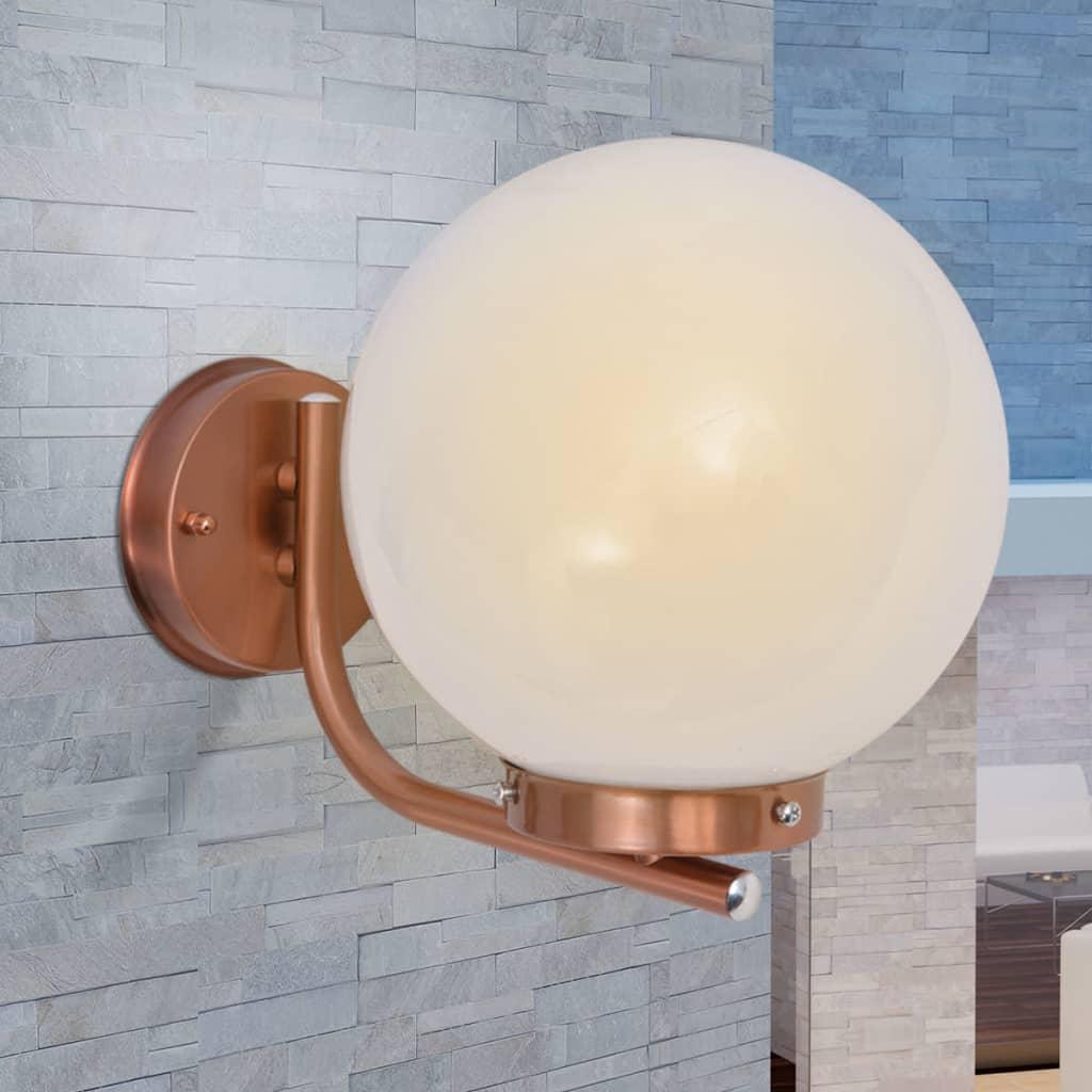 Vidaxl l mpara esfera de pared para exterior acero for Lampara para porche exterior