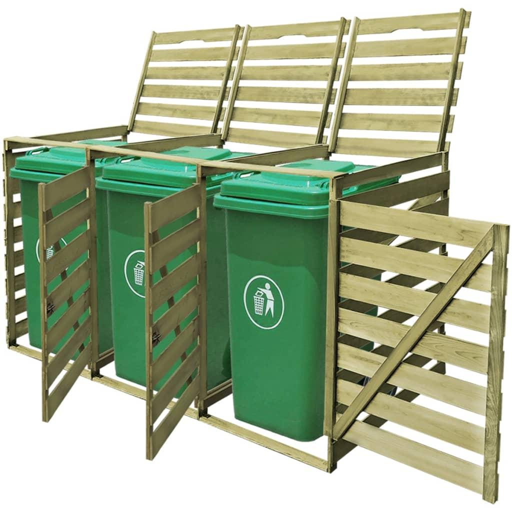 vidaXL tripla impregnált fa tároló gurítható szemetes kukához 240 L