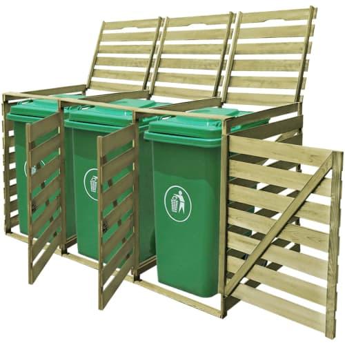 Cache-poubelle à roulettes triple imprégné en bois Abri poubelle ...