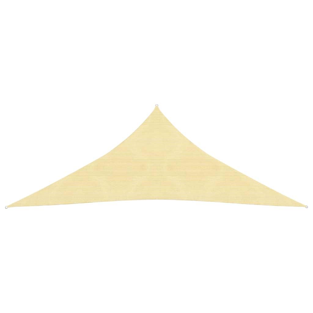 vidaXL 3,6x3,6x3,6 m háromszög alakú bézs HDPE napernyő