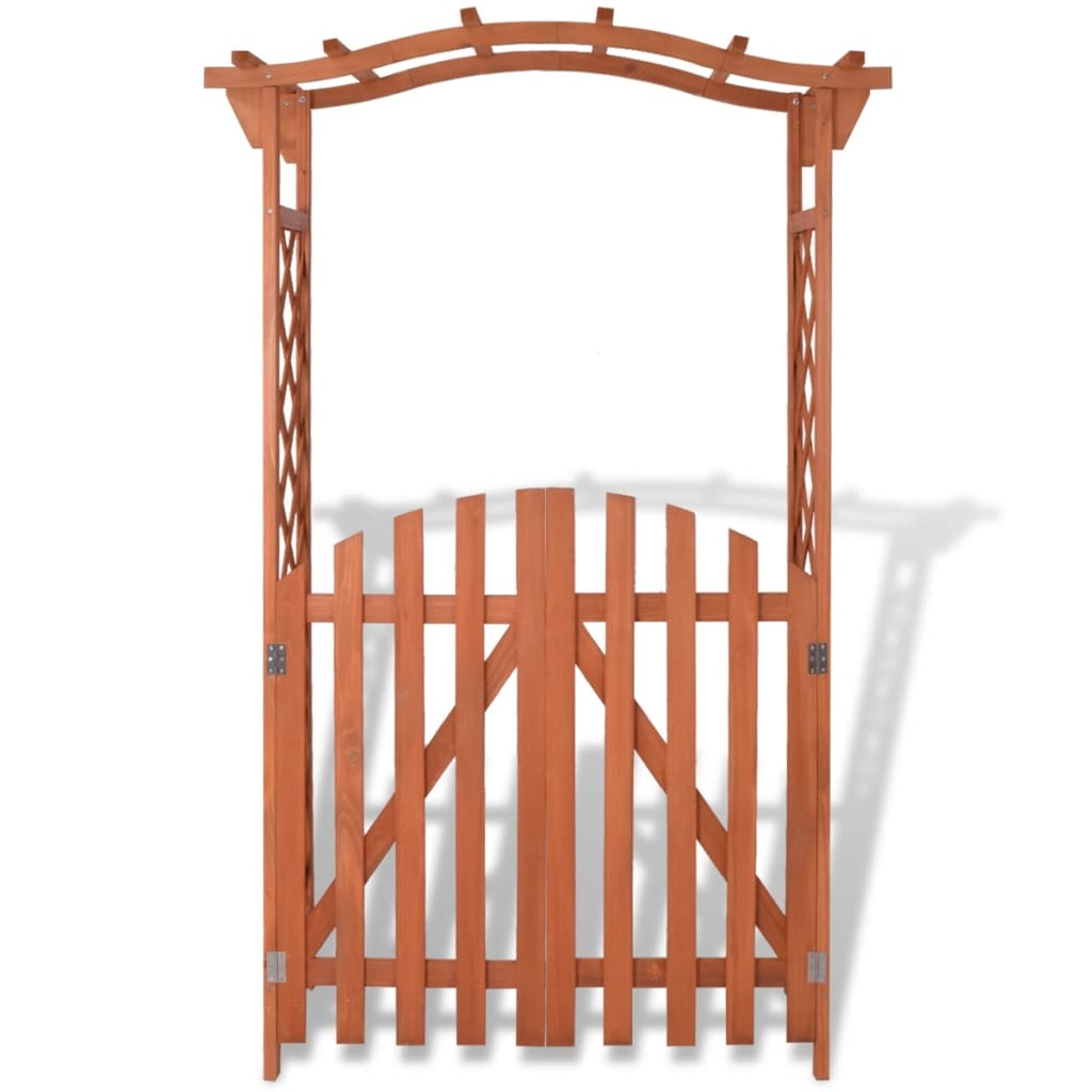 vidaxl garden arch with gate fir wood 120x60x193 cm. Black Bedroom Furniture Sets. Home Design Ideas
