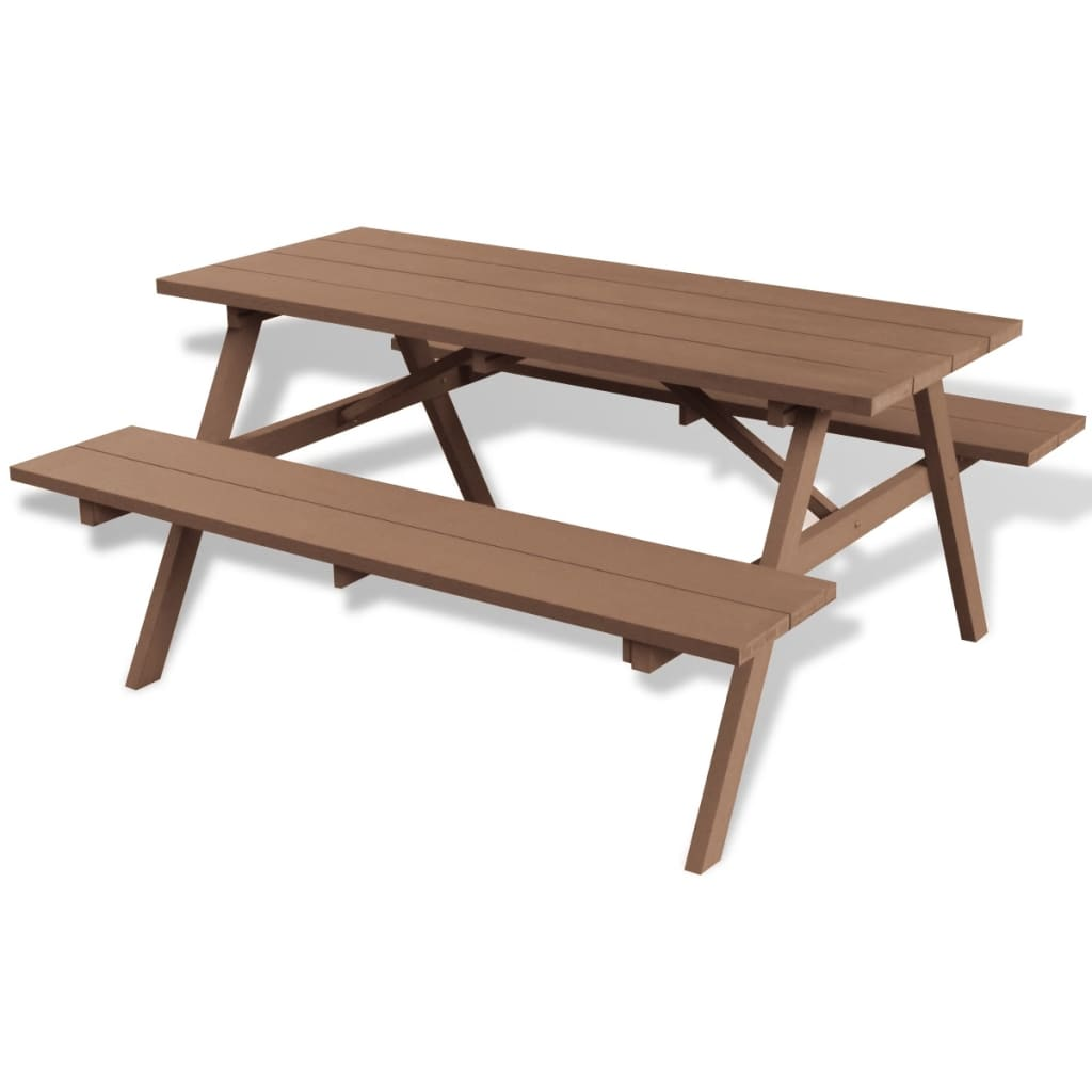 Vidaxl wpc picnic table with benches for Table carree 150 x 150