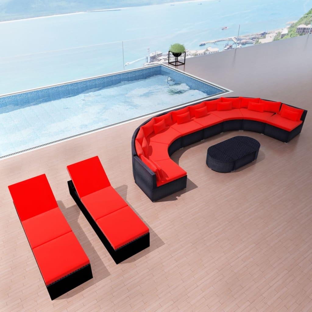 vidaXL kerti polyrattan kanapé szett napozóágyakkal vörös