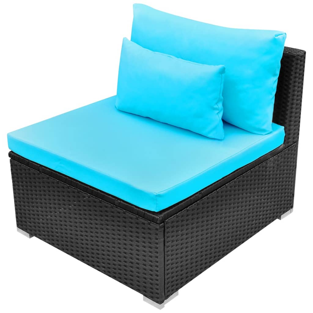vidaxl gartensofa garnitur poly rattan tropikblau g nstig kaufen. Black Bedroom Furniture Sets. Home Design Ideas