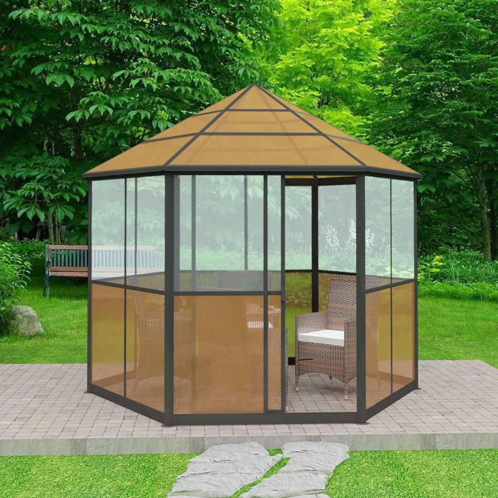 vidaxl pavillon gartenhaus mit schiebet r aluminium braun 310 x 270 x 265 cm ebay. Black Bedroom Furniture Sets. Home Design Ideas