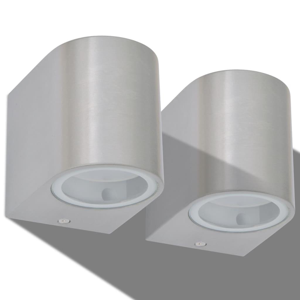 vidaXL-Applique-Lampada-Luce-LED-Rotonda-Parete-Esterna-2Pz-Proiezione-in-Basso