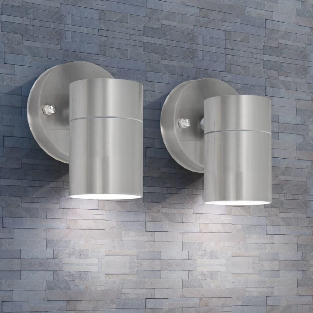 vidaXL 2 db lefelé világító rozsdamentes acél kültéri fali lámpa
