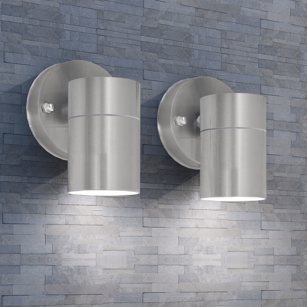 vidaXL-2x-Applique-Murale-de-Jardin-Acier-Inoxydable-Lampe-Murale-Multi-Modele