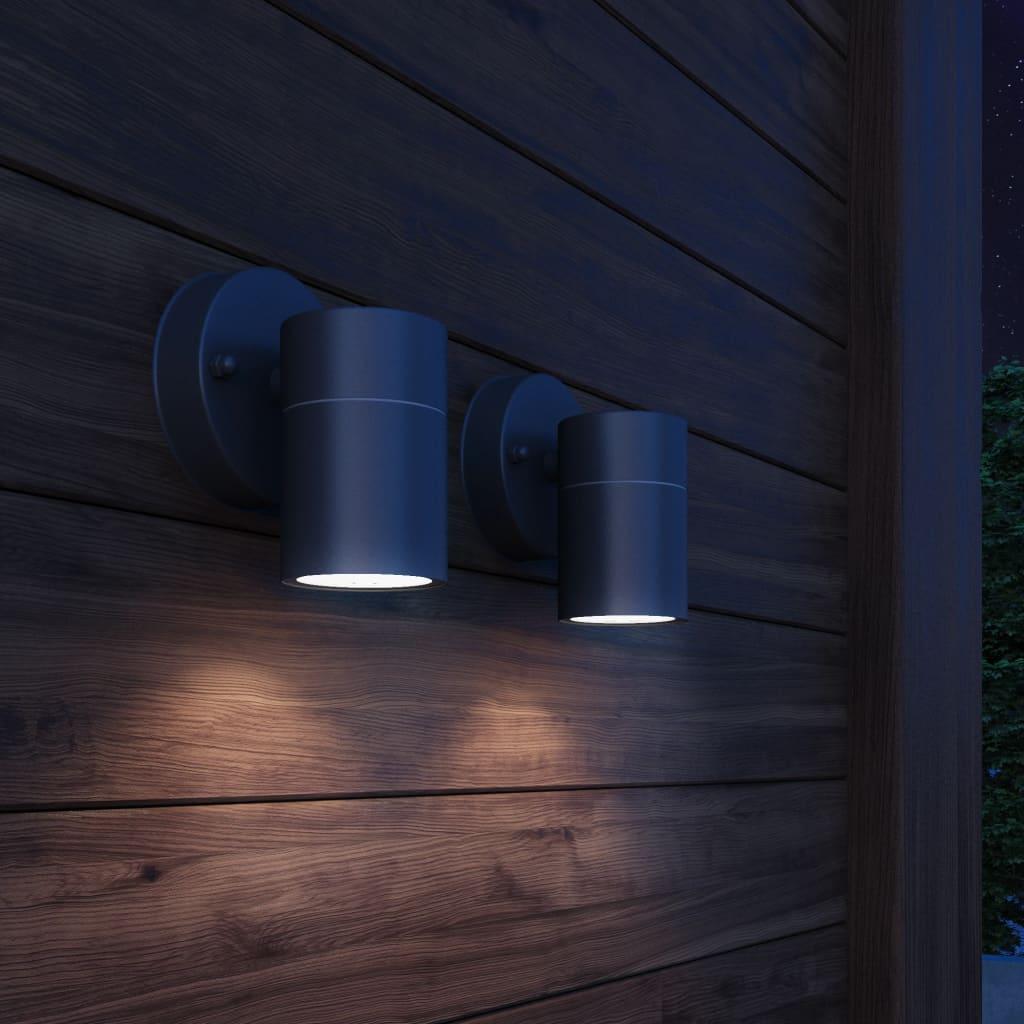 vidaXL 2 db lefelé világító rozsdamentes acél kültéri falilámpa