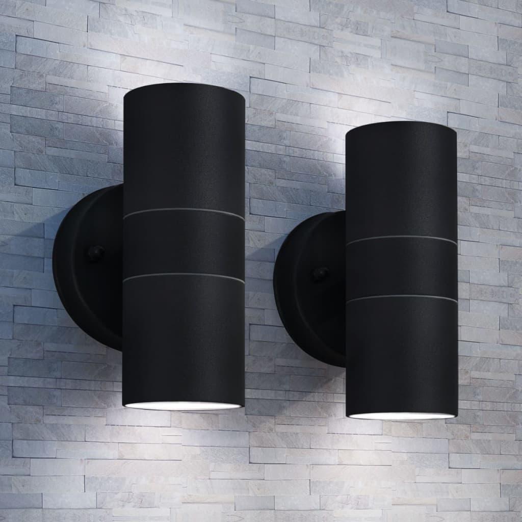 vidaXL 2 db fel/lefelé világító rozsdamentes acél kültéri falilámpa