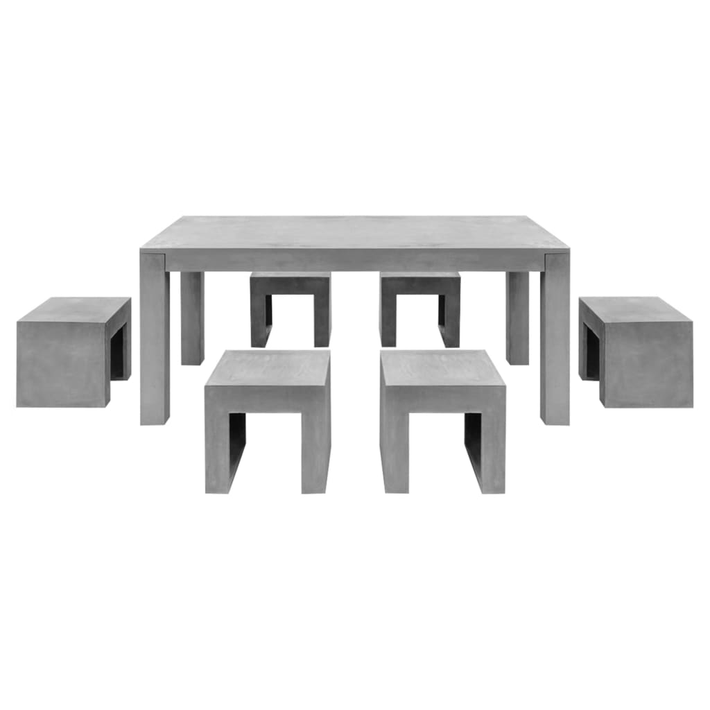 vidaxl 7-tlg. beton gartenmöbel sitzgruppe essgruppe gartengarnitur