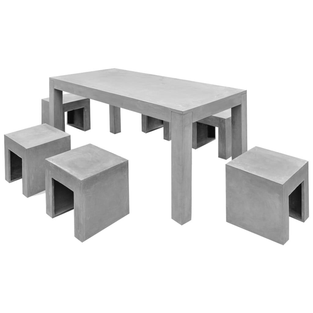 vidaXL Eethoek voor buiten beton 7-delig