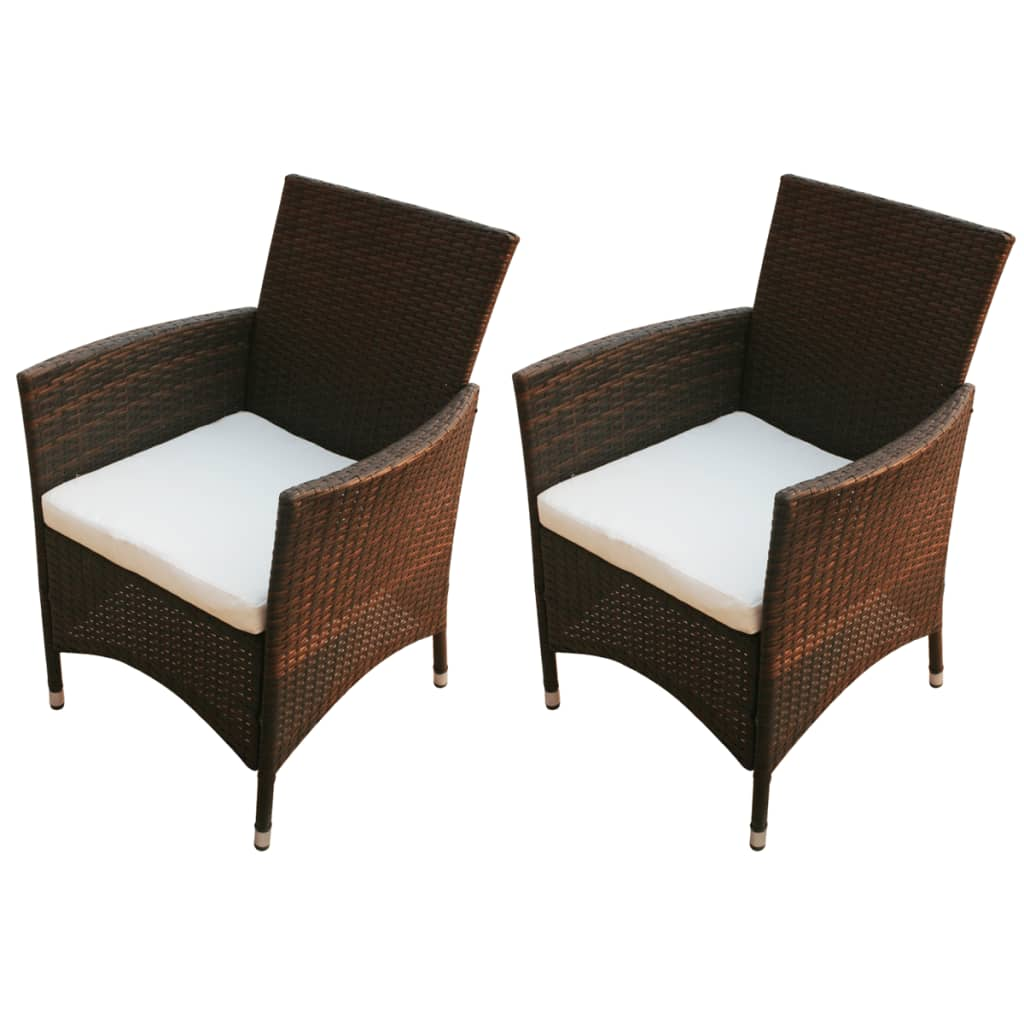 vidaxl gartenst hle 2 stk poly rattan braun zum schn ppchenpreis. Black Bedroom Furniture Sets. Home Design Ideas