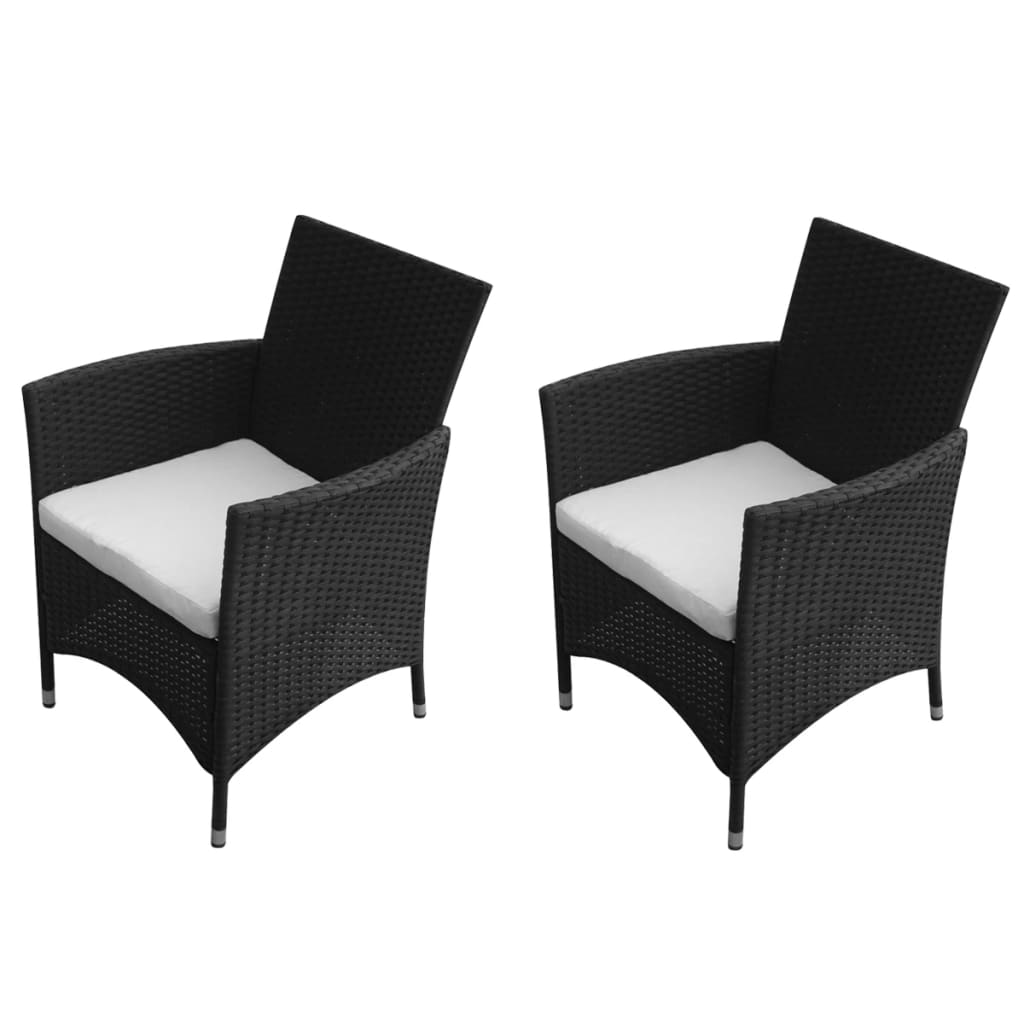 acheter vidaxl chaise de jardin 2 pi ces rotin synth tique noir pas cher. Black Bedroom Furniture Sets. Home Design Ideas