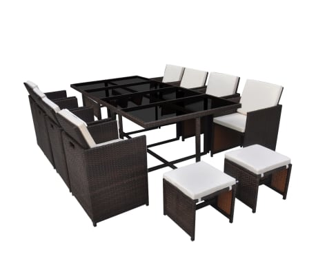 vidaxl 33 teilige garten essgruppe braun poly rattan im vidaxl trendshop. Black Bedroom Furniture Sets. Home Design Ideas