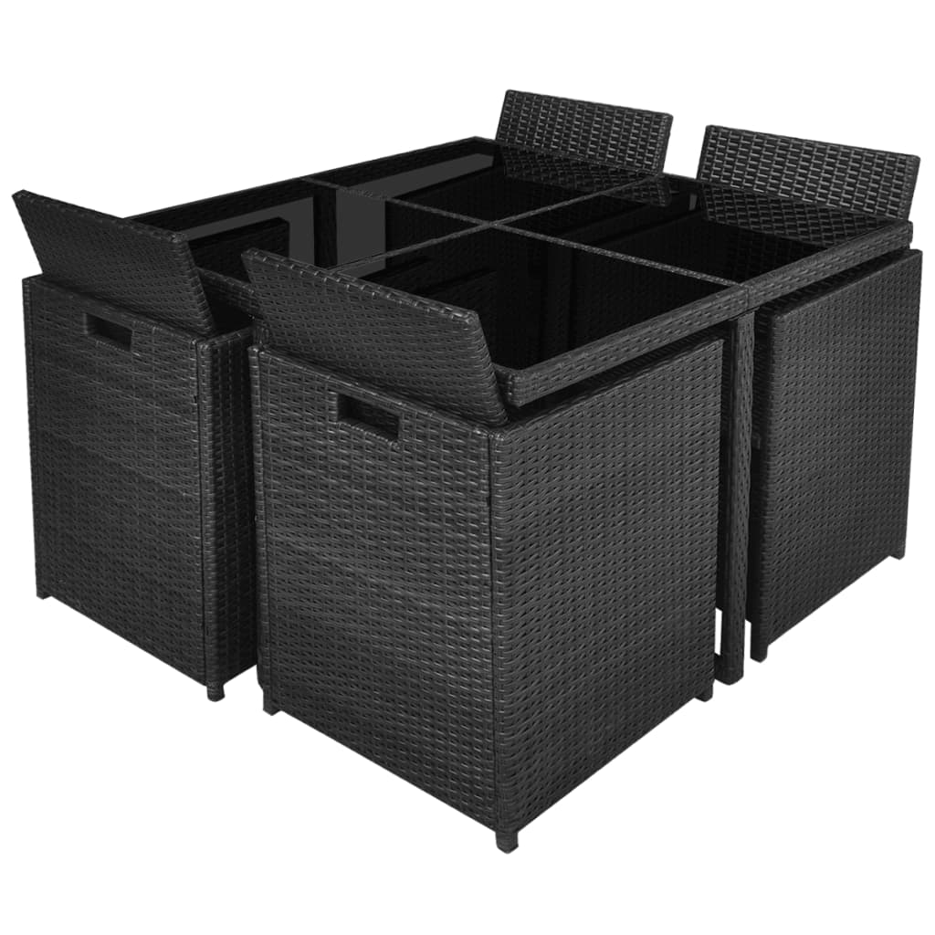 vidaxl 21 piece outdoor dining set black poly rattan. Black Bedroom Furniture Sets. Home Design Ideas