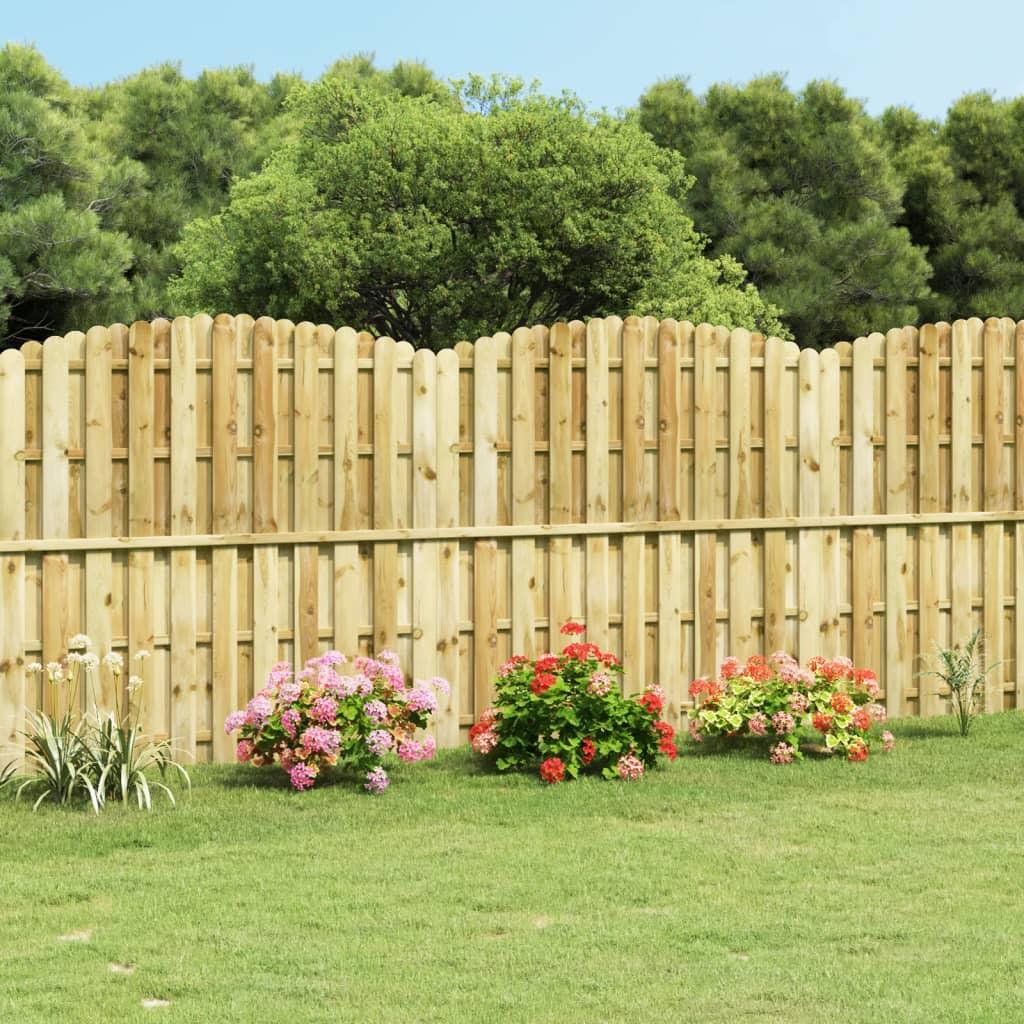 vidaXL ívelt impregnált fenyőfa kerítéspanel