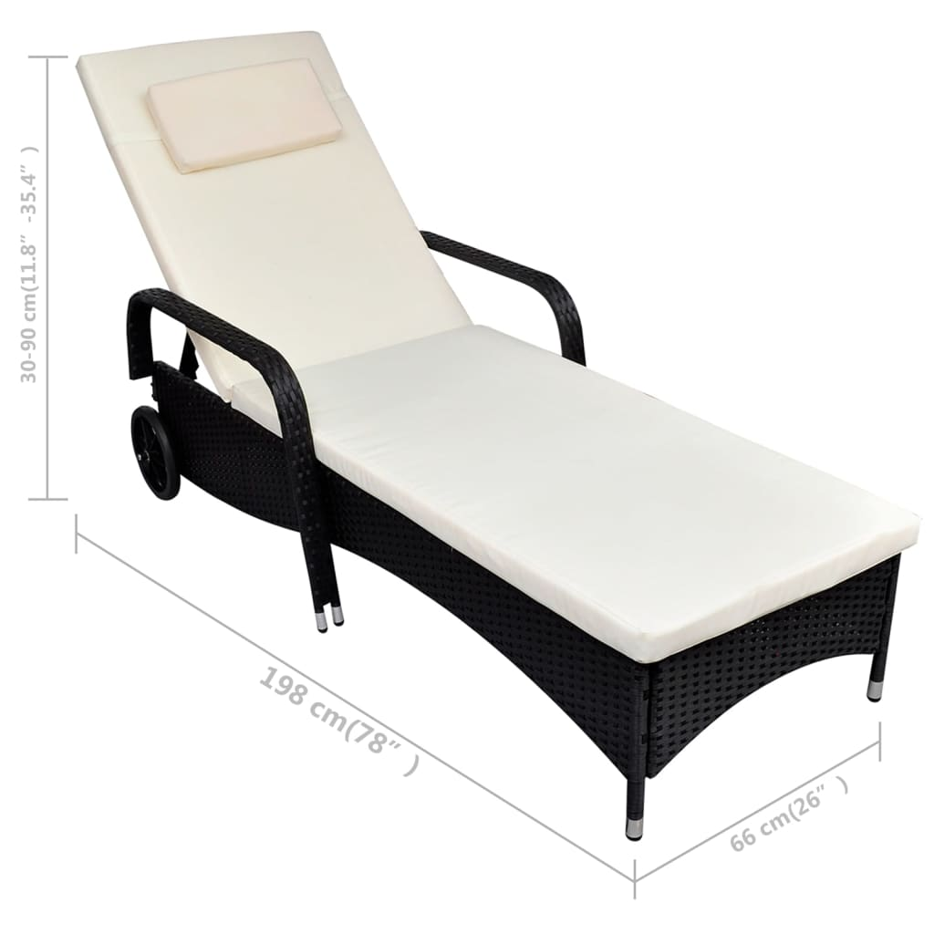 Acheter vidaxl chaise longue rotin noir pas cher for Acheter chaise pas cher
