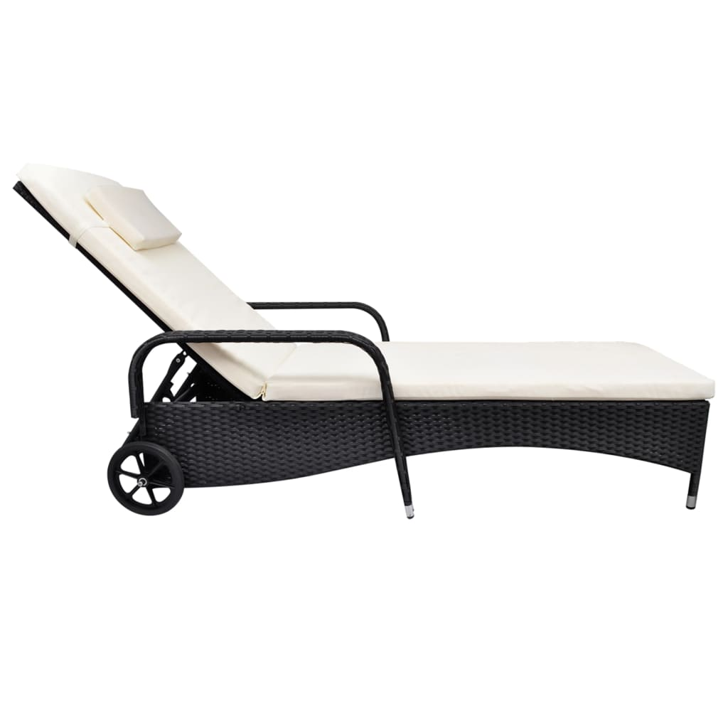 vidaXL-Sunlounger-with-Wheels-Poly-Rattan-Black-Wicker-Reclining-Chair-Daybed thumbnail 3