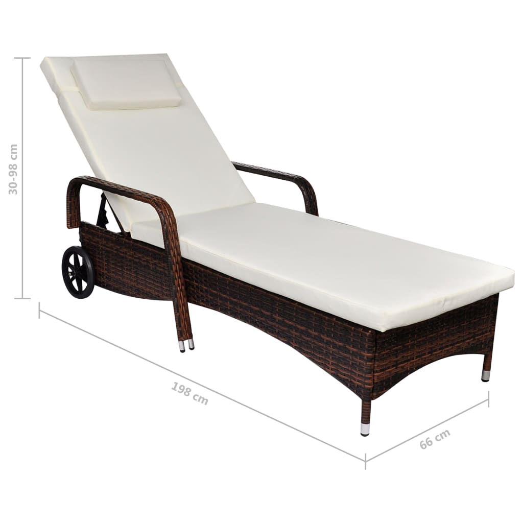 vidaXL-Sunlounger-with-Wheels-Poly-Rattan-Brown-Wicker-Reclining-Chair-Daybed thumbnail 4