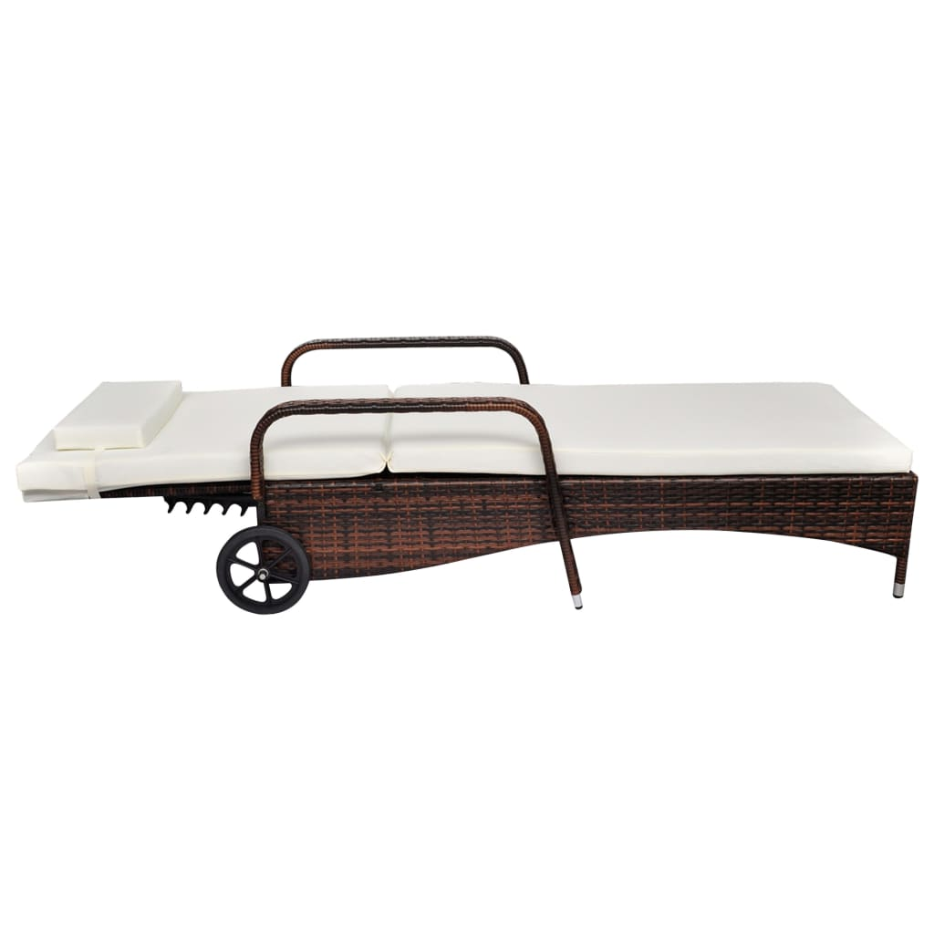 vidaXL-Sunlounger-with-Wheels-Poly-Rattan-Brown-Wicker-Reclining-Chair-Daybed thumbnail 3