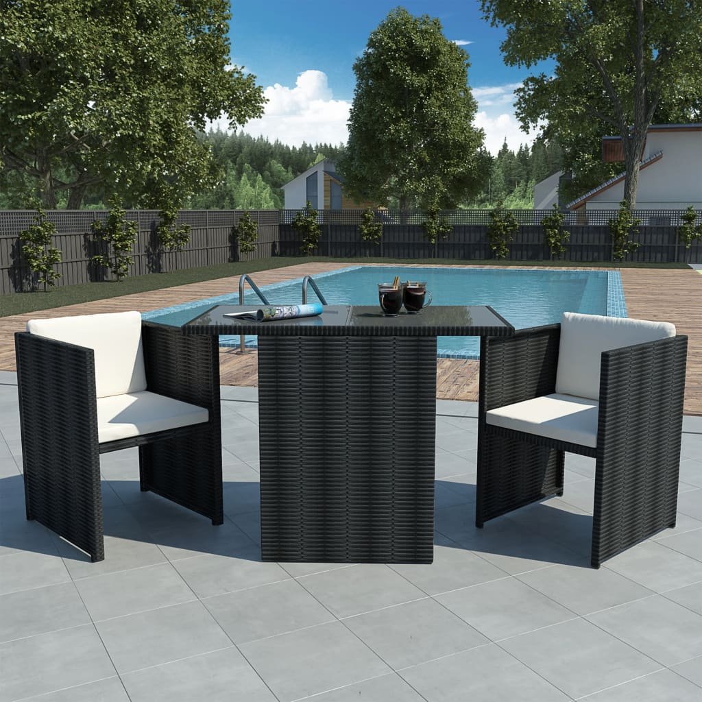 vidaXL 7 darabos Fekete Poly Rattan kerti étkező szett