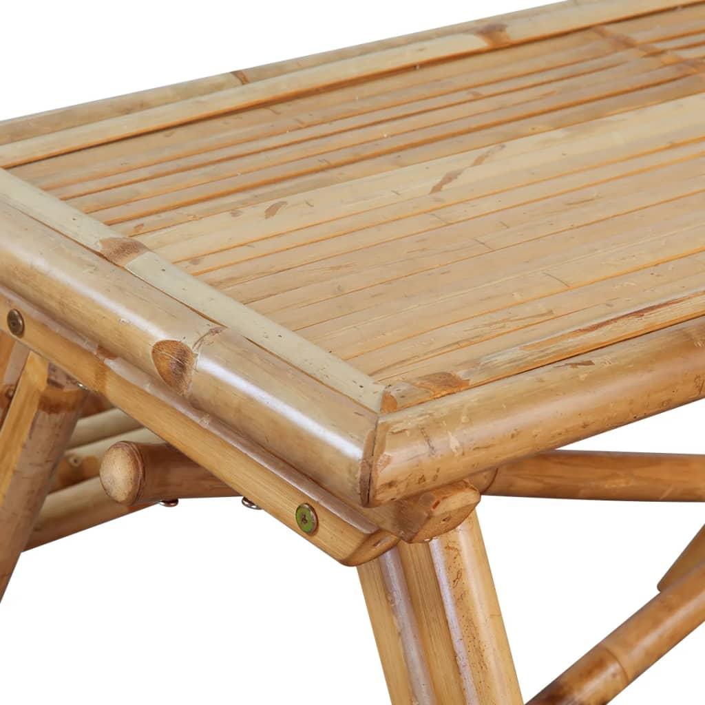 Acheter vidaxl table de pique nique bambou 120 x 120 x 78 for Pique nique 78