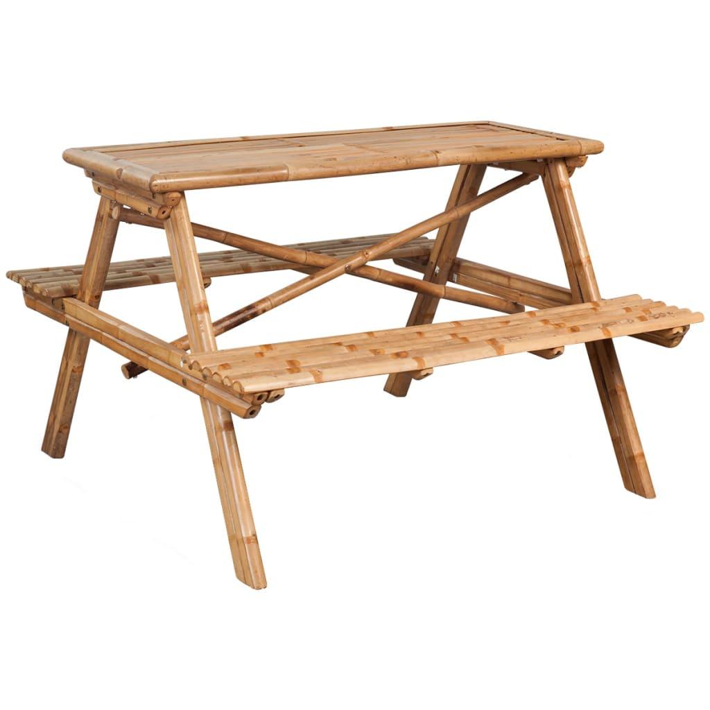 acheter vidaxl table de pique nique bambou 120 x 120 x 78 cm pas cher. Black Bedroom Furniture Sets. Home Design Ideas
