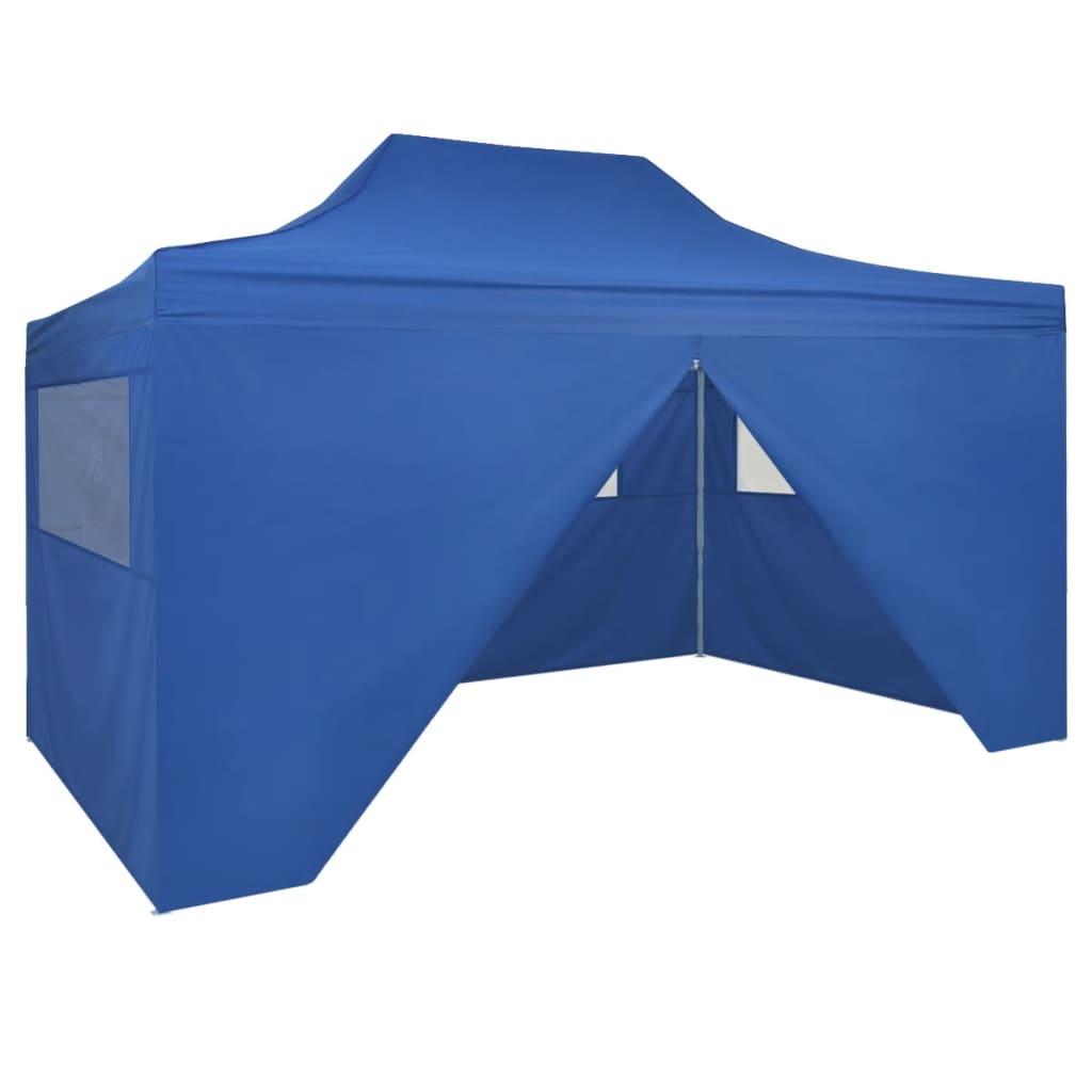 vidaXL felállítható pavilon 4 oldalfallal, 3 x 4,5 m, kék