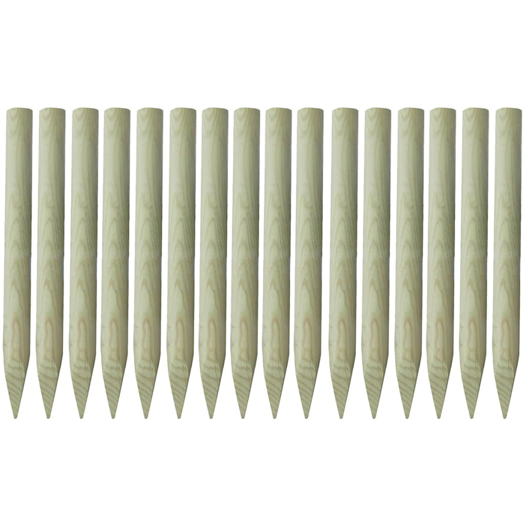 vidaXL 16 db hegyesvégű, impregnált fa kerítésoszlop 5x100cm