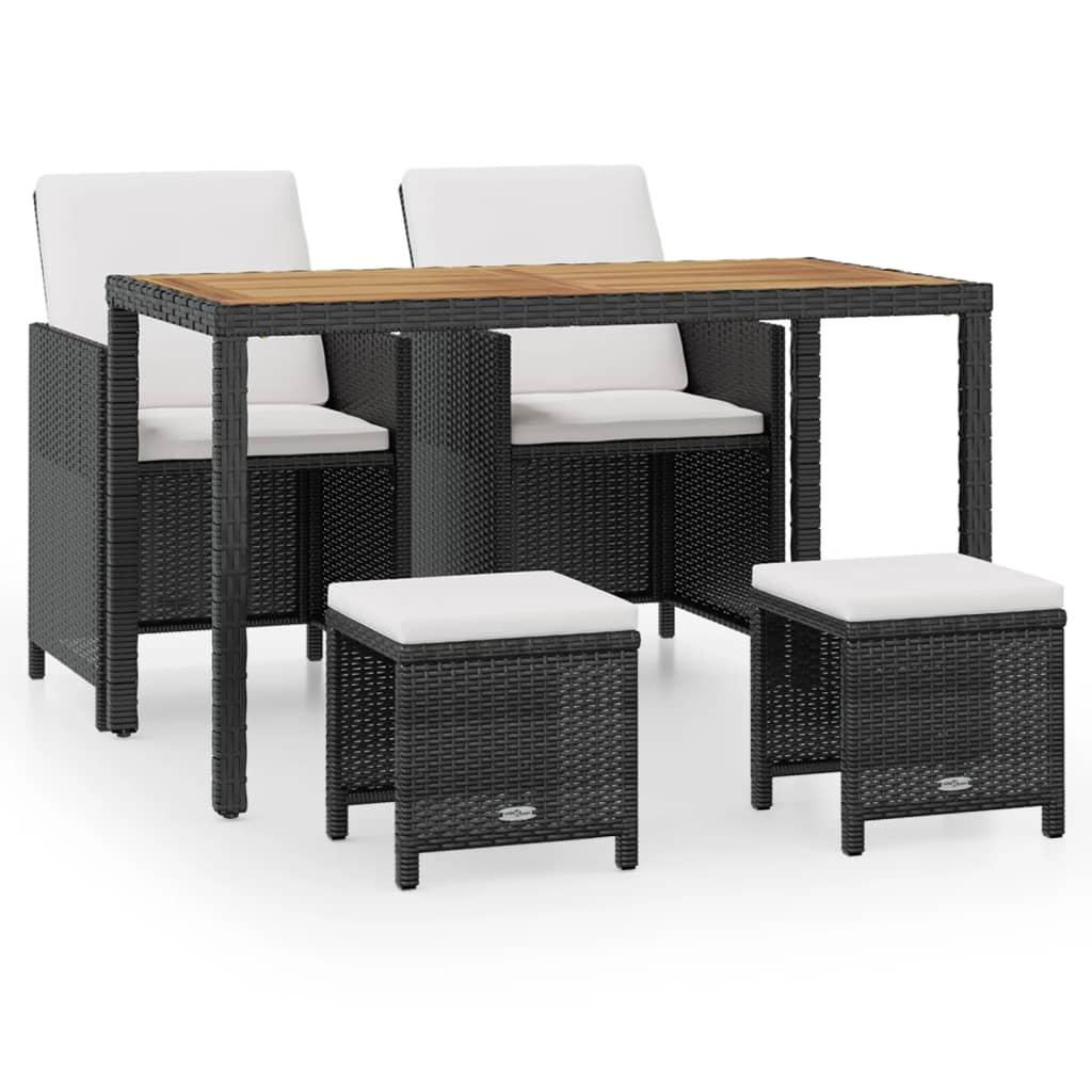 Acheter vidaxl mobilier d 39 ext rieur 11 pcs noir r sine for Mobilier exterieur bois