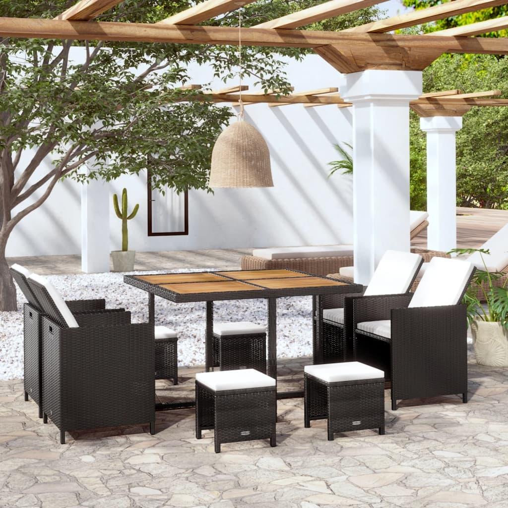 vidaxl poly rattan gartenm bel essgruppe schwarz akazienholz mehrere auswahl ebay. Black Bedroom Furniture Sets. Home Design Ideas