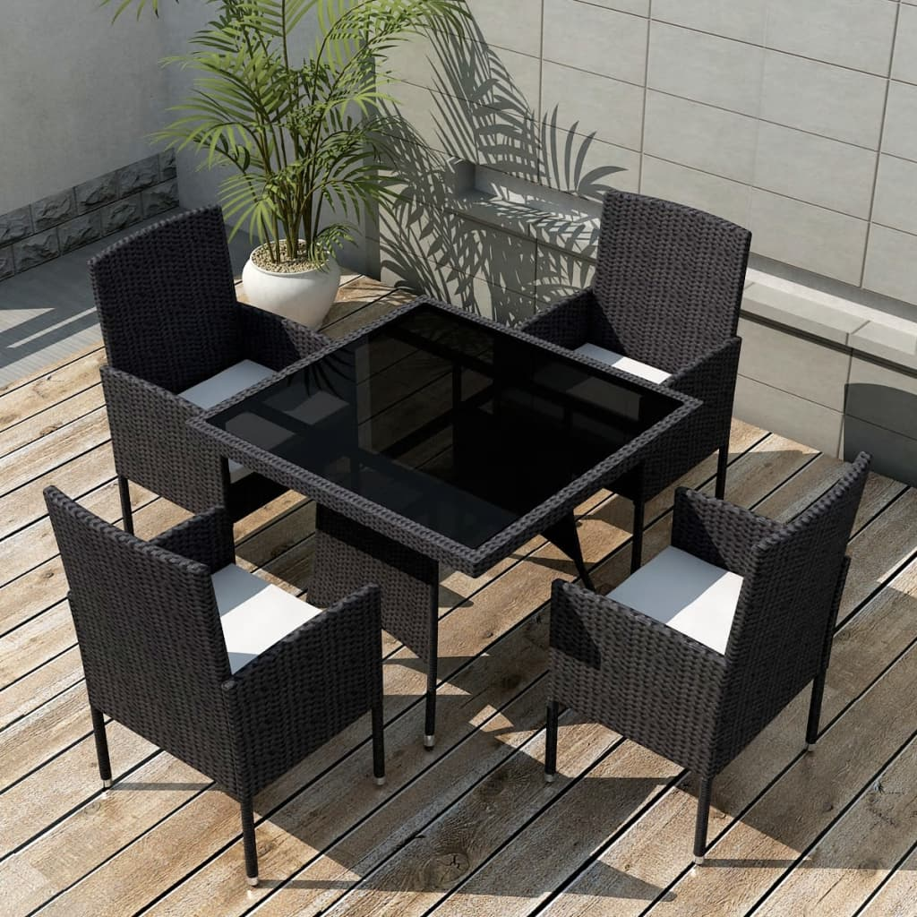 acheter vidaxl ensemble de mobilier de jardin 9 pi ces rotin synth tique noir pas cher. Black Bedroom Furniture Sets. Home Design Ideas