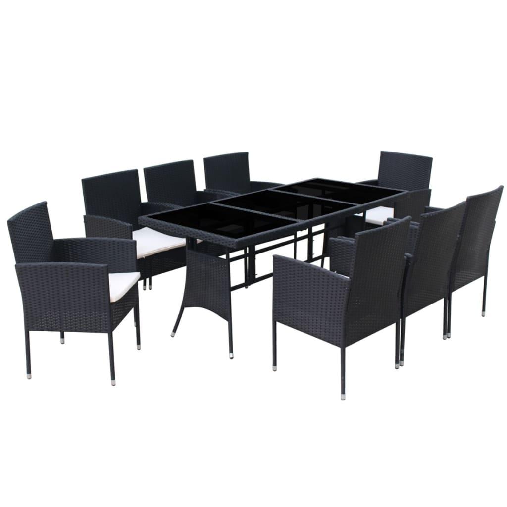 Vidaxl tavolo sedie da giardino 17x poli rattan nero tavolino seggiole esterni ebay - Tavolo in rattan da giardino ...