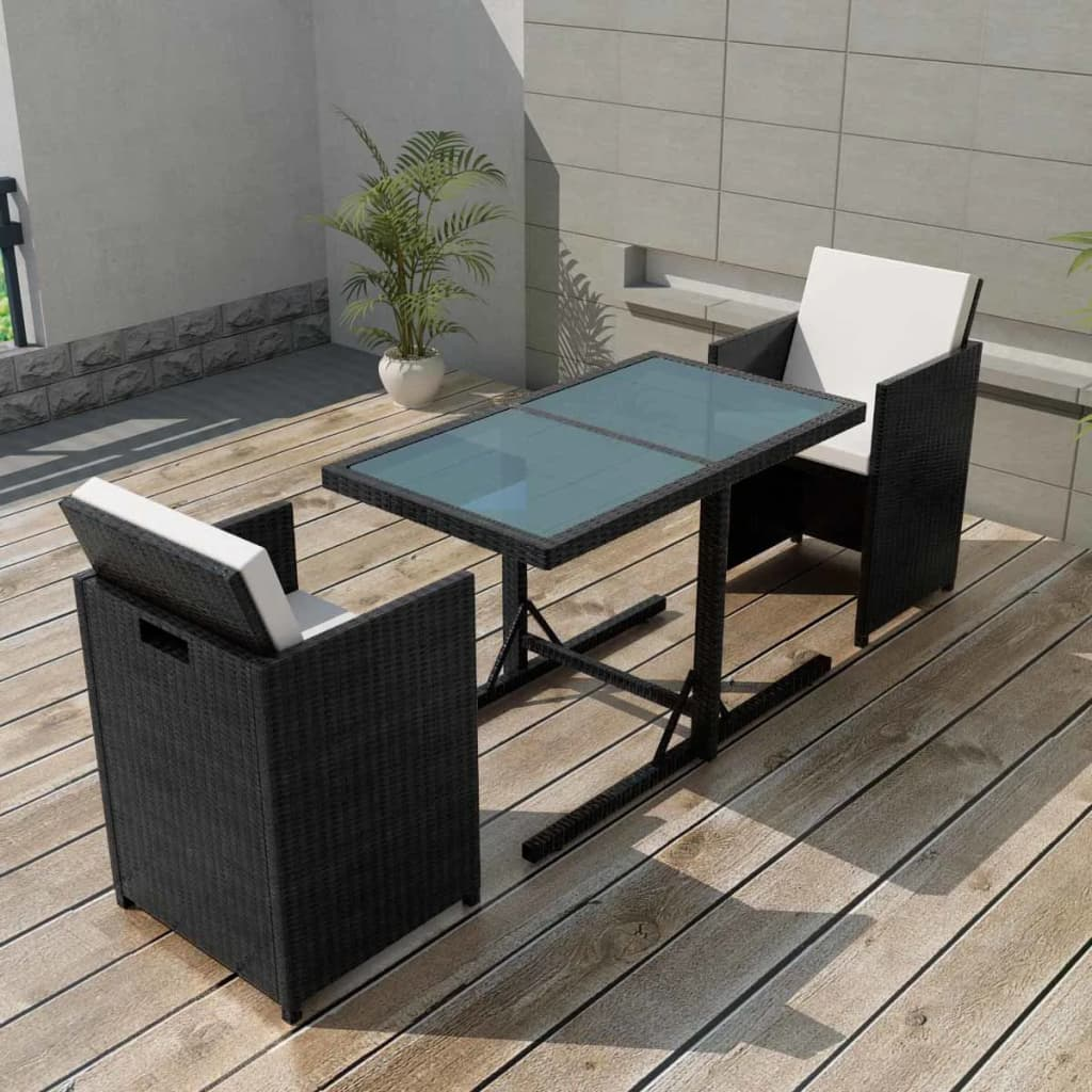 vidaxl siebenteiliges gartenm bel set poly rattan schwarz g nstig kaufen. Black Bedroom Furniture Sets. Home Design Ideas
