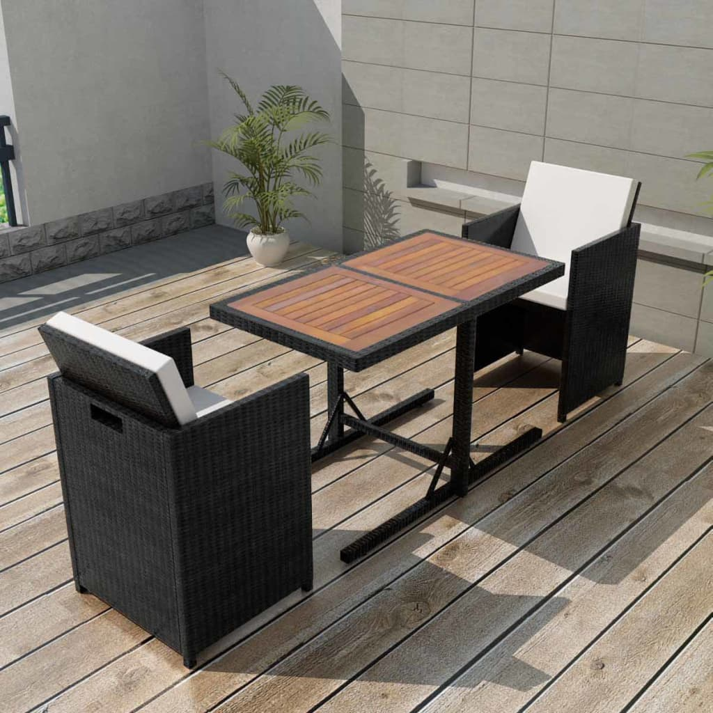 vidaxl gartenm bel set 7 tlg poly rattan schwarz sitzgruppe essgruppe gartenset ebay. Black Bedroom Furniture Sets. Home Design Ideas