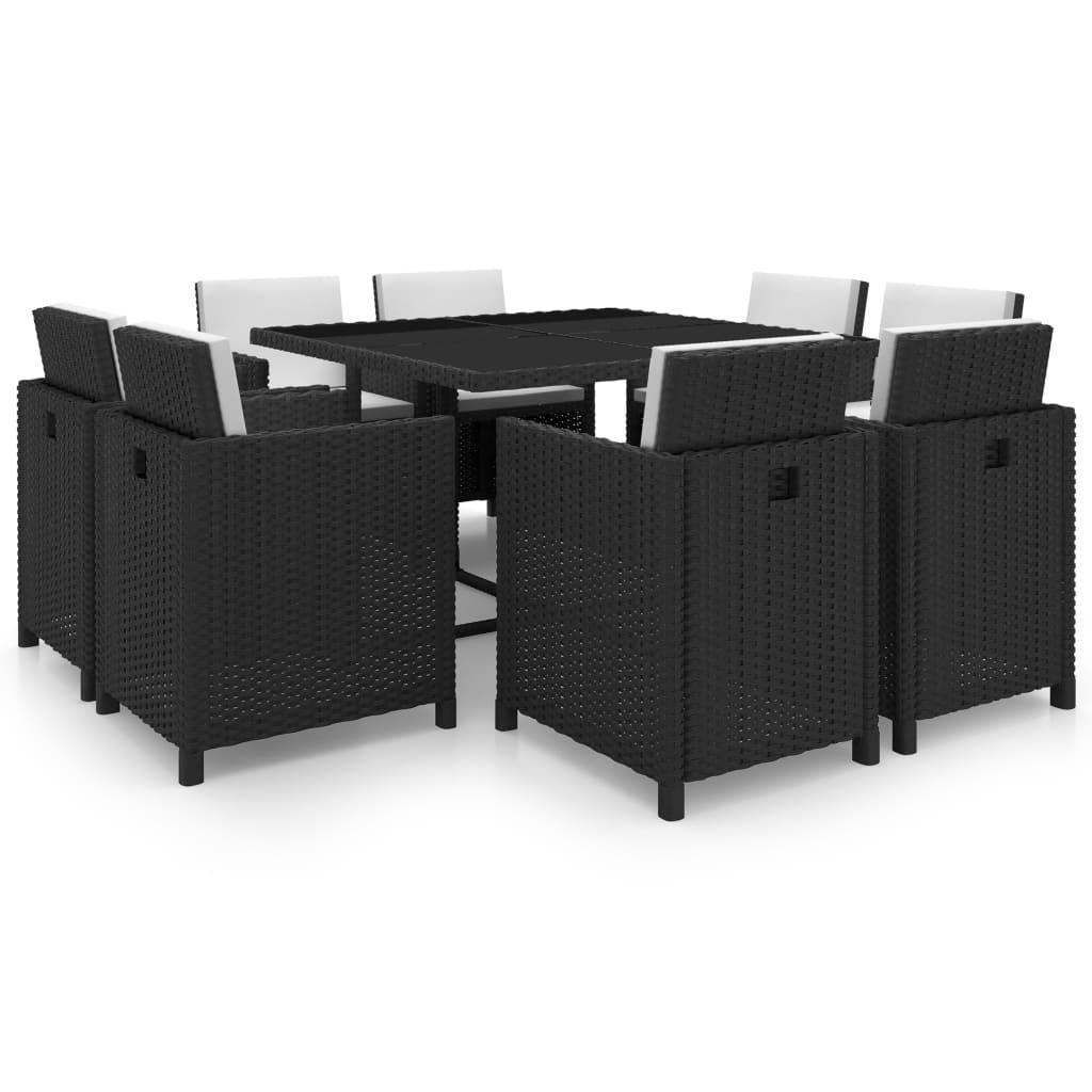 black wicker dining chairs. VidaXL-Garden-Dining-Set-25-Piece-Black-Wicker- Black Wicker Dining Chairs W