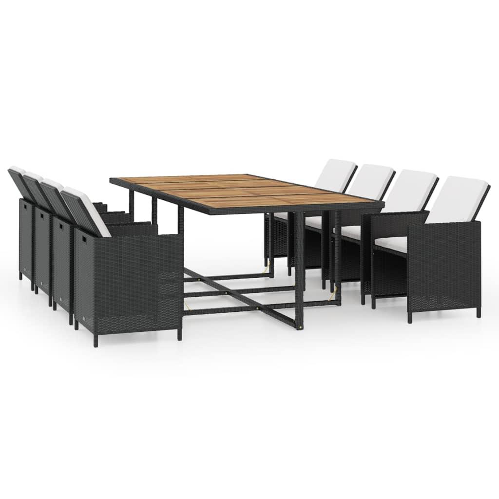 vidaxl gartenm bel set 37tlg poly rattan schwarz akazie essgruppe sitzgruppe ebay. Black Bedroom Furniture Sets. Home Design Ideas